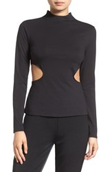 Kendall Kylie Women's Side Cutout Mock Neck Tee