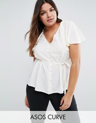 Asos Curve Tea Blouse With Button Front And Cape Back Cream
