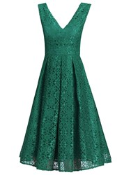 Jolie Moi V Neck Pleated Lace Dress Green