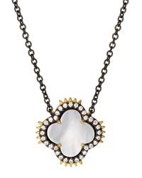 Freida Rothman Two Tone Clover Spike Pendant Necklace