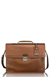Tumi 'Astor Dorilton Slim Flap' Embossed Leather Briefcase 15 Inch Umber