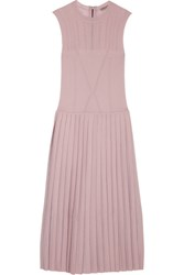 Bottega Veneta Pleated Metallic Wool Blend Midi Dress Antique Rose