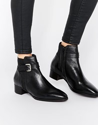 Ravel Buckle Strap Leather Chelsea Boots Black