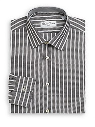 Robert Graham Bricket Herringbone Stripe Cotton Dress Shirt White Black