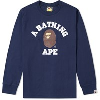 A Bathing Ape Long Sleeve College Tee Blue