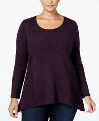 Styleandco. Style Co. Plus Size Pointelle Sweater Only At Macy's Dark Grape