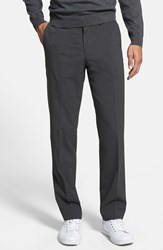 Men's Calibrate Flat Front Houndstooth Trousers Charcoal