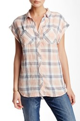 Sandra Ingrish Y Neck Roll Sleeve Plaid Shirt Red