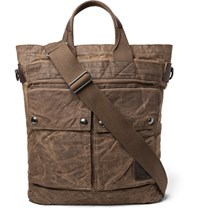 Polo Ralph Lauren Leather Trimmed Distressed Waxed Cotton Canvas Tote Bag Brown