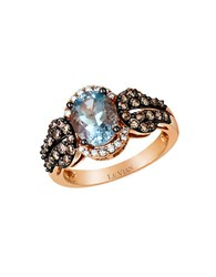 Le Vian Chocolatier Baby Blues Vanilla Diamond Chocolate Diamond Aquamarine And 14K Rose Gold Ring 0.66 Tcw