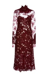 Costarellos Long Sleeve Guipure And Chantilly Lace Midi Dress Burgundy