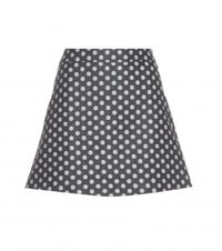 Victoria Beckham Polka Dot Denim Skirt Blue