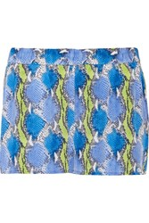 Equipment Landis Snake Print Washed Silk Shorts Blue