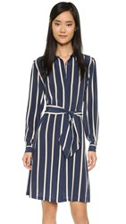 Ganni Lucky Silk Dress Dress Blues Stripe