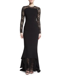 Talbot Runhof Lotsane Long Sleeve Lace And Crepe Gown Black
