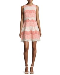 Erin Fetherston Beckley Sleeveless Lace Scalloped Dress Coral Multi