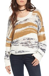 Sun And Shadow Women's Tattered Knit High Low Pullover