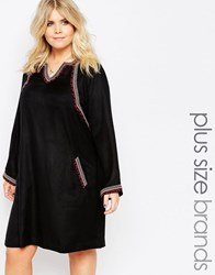 Alice And You Embroidered Long Sleeve Skater Dress Black