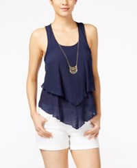 Amy Byer Bcx Juniors' Sleeveless Layered Necklace Top Navy