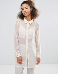 Vila Oversized Shirt With Pocket Detail Pink Tint Gold
