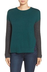 Trouve Women's Asymmetrical Hem Sweater Green Bug Charcoal Colorblock