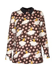 Marni Pirouette Print Silk Georgette Shirt Brown Multi