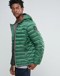 Napapijri Quilted Hooded Jacket Zip Front Plein Air Green