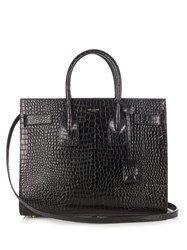 Saint Laurent Sac De Jour Small Crocodile Effect Leather Tote Black