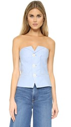 Laveer Isola Button Up Bustier Top Chambray