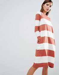 Selected Sisse Jersey Dress In Oversized Stripe Multi