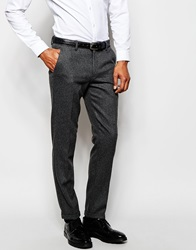 Selected Homme Flannel Wool Suit Trousers In Skinny Fit Grey