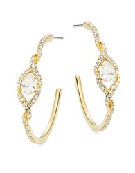 Nadri Cubic Zirconia Pave And Teardrop Goldtone Hoop Earrings