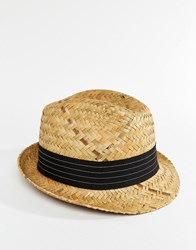 Catarzi Straw Trilby With Black Band Beige