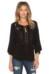 Twelfth St. By Cynthia Vincent Chikat Indian Embroidered Blouse Black