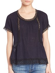 Rebecca Taylor Lace Inset Tee Navy