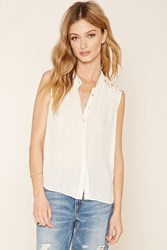 Forever 21 Contemporary Crochet Yoke Shirt