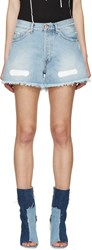Off White Blue Frayed Denim Shorts