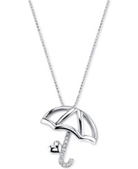 Disney Pinocchio Umbrella Crystal Pendant Necklace In Sterling Silver