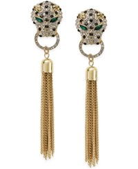 Thalia Sodi Gold Tone Crystal Leopard Tassel Linear Drop Earrings Only At Macy's