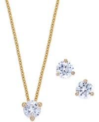 Kate Spade New York 14K Gold Plated Crystal Stud Earrings And Pendant Necklace Set Clear