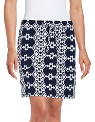 Lord And Taylor Geometric Skirt White