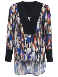 French Connection Record Ripple Drape Tunic Top Multi