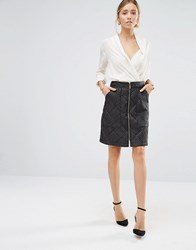 Closet London Quilted Zip Front Skirt Black
