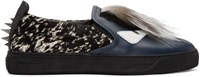 Fendi Navy Fur Trimmed Slip On Sneakers