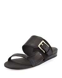 Bien Double Strap Buckle Slide Sandal Black Donald J Pliner