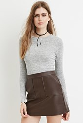 Forever 21 Contemporary Marled Knit Crop Top Grey Ivory