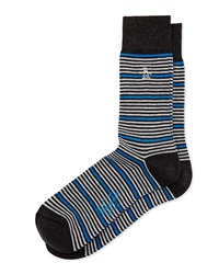 Penguin Thin Striped Knit Socks W Contrast Charcoal