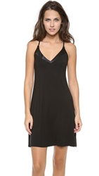 Calvin Klein Underwear Essentials With Satin V Neck Chemise Black