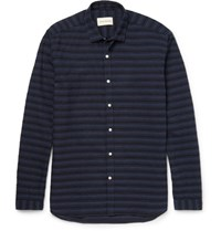 Oliver Spencer Clerkenwell Slim Fit Embroidered Cotton Shirt Navy