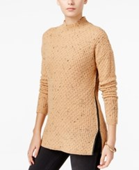 Bar Iii Faux Leather Trim Mock Neck Sweater Only At Macy's Indian Tan Combo